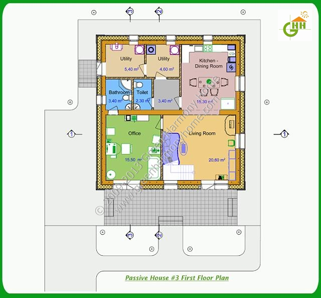 Green Passive Solar House #3 First Floor Plan, Passive Solar Home Plans