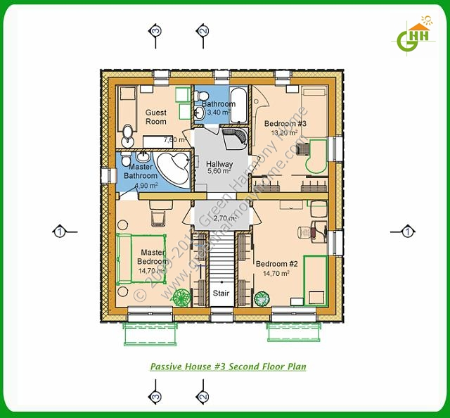 Green Passive Solar House #3 Second Floor Plan, Passive Solar Home Plans