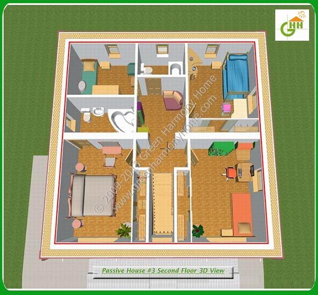 Green Passive Solar House #3 Section Second Floor 3D View, Passive Solar Home Plans