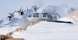 The Princess Elisabeth station in Antarctica is powered by a combination of two renewable and carbon-neutral technologies for producing electricity: wind and solar power. While wind power will be used to supply the station with electricity all year long, solar power will provide both electricity (photovoltaic panels) and hot water (solar thermal panels) during the austral summer. ©2012 Polar Foundation