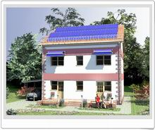 This Passive House designed in a traditional cottage style has a simple and elegant shape. It is a 3-bedroom, 1 living room, kitchen-dinning room, 1 office, 1 guest room, 3.5-bathroom, 140 square meters, two-story single family home with a slopping roof