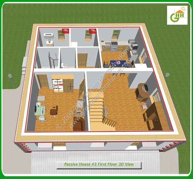 Green Passive Solar House #3 Section First Floor 3D View, Passive Solar Home Plans